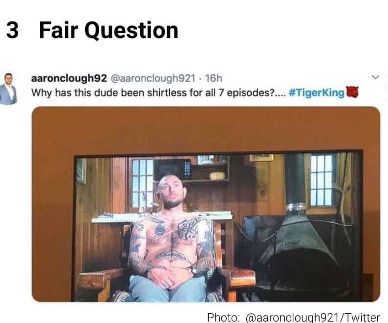 Text - 3 Fair Question aaronclough92 @aaronclough921 16h Why has this dude been shirtless for all 7 episodes?. #TigerKing Photo: @aaronclough921/Twitter