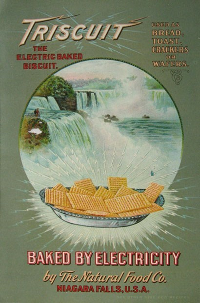 Poster - TRISCUIT USED AS BREAD. TOAST, THE ELECTRIC BAKED BISCUIT. CRACKERS WAFERS. BAKED BY ELECTRICITY by The Natural Food Co. NIAGARA FALLS,U.S.A. AFCOTRER IRECORECE