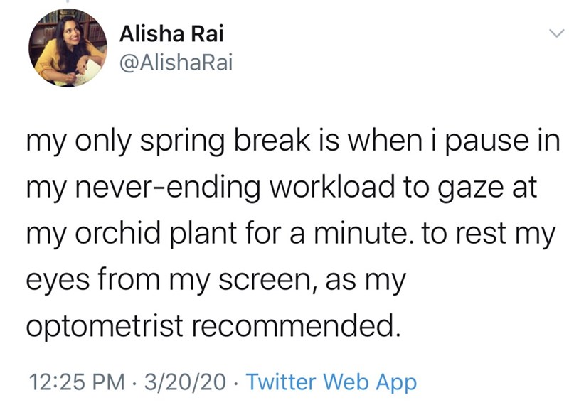 Text - Alisha Rai @AlishaRai my only spring break is when i pause in my never-ending workload to gaze at my orchid plant for a minute. to rest my eyes from my screen, as my optometrist recommended. 12:25 PM · 3/20/20 · Twitter Web App