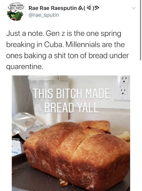 Food - GMINS DESICE Rae Rae Raesputin 6() @rae_sputin Just a note. Gen z is the one spring breaking in Cuba. Millennials are the ones baking a shit ton of bread under quarentine. THIS BITCH MADE BREAD YALL