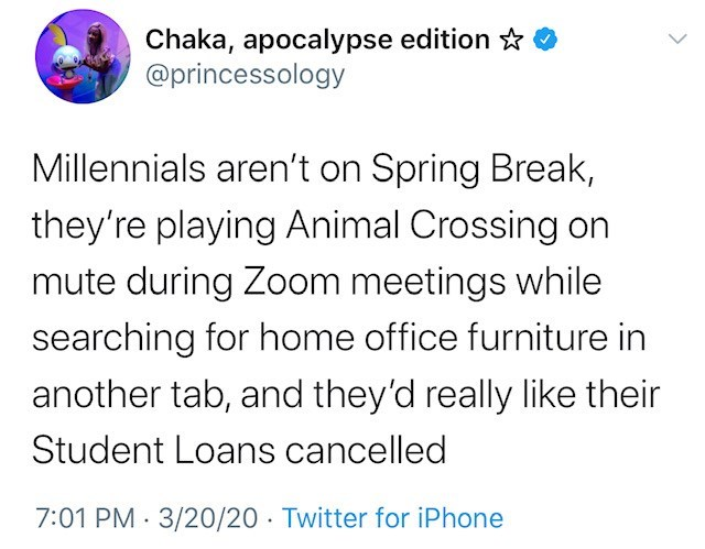 Text - Chaka, apocalypse edition ☆ @princessology Millennials aren't on Spring Break, they're playing Animal Crossing on mute during Zoom meetings while searching for home office furniture in another tab, and they'd really like their Student Loans cancelled 7:01 PM · 3/20/20 · Twitter for iPhone