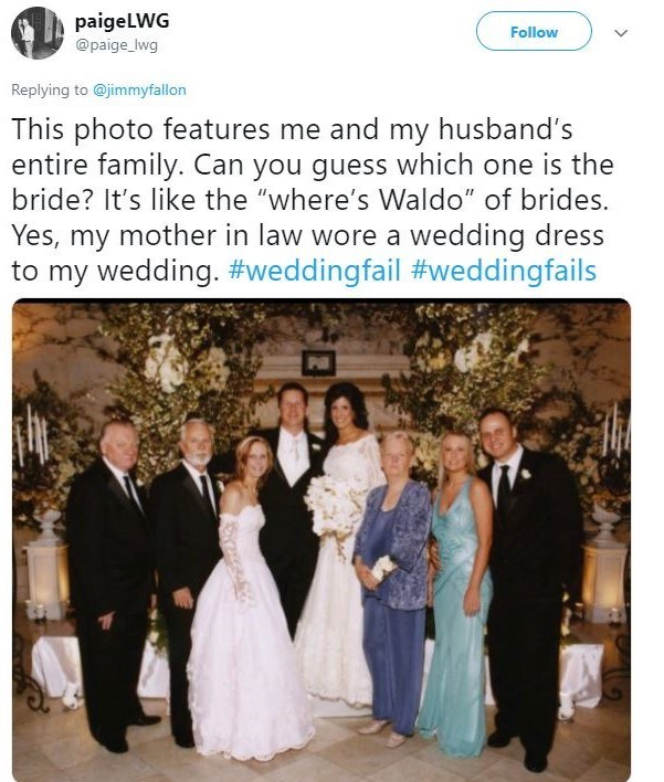 """Photograph - paigeLWG @paige_Iwg Follow Replying to @jimmyfallon This photo features me and my husband's entire family. Can you guess which one is the bride? It's like the """"where's Waldo"""" of brides. Yes, my mother in law wore a wedding dress to my wedding. #weddingfail #weddingfails"""