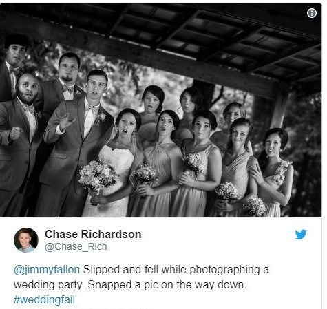 Photograph - Chase Richardson @Chase_Rich @jimmyfallon Slipped and fell while photographing a wedding party. Snapped a pic on the way down. #weddingfail