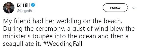 Text - Ed Hill @kingedhill Follow My friend had her wedding on the beach. During the ceremony, a gust of wind blew the minister's toupée into the ocean and then a seagull ate it. #WeddingFail