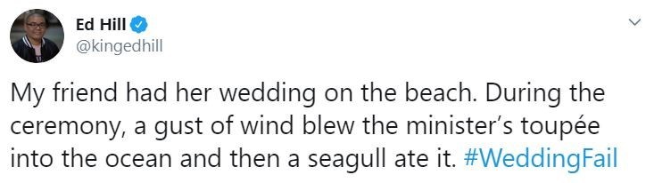 Text - Ed Hill @kingedhill My friend had her wedding on the beach. During the ceremony, a gust of wind blew the minister's toupée into the ocean and then a seagull ate it. #WeddingFail