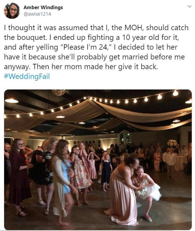 """Event - Amber Windings @awise1214 I thought it was assumed that I, the MOH, should catch the bouquet. I ended up fighting a 10 year old for it, and after yelling """"Please l'm 24,"""" 