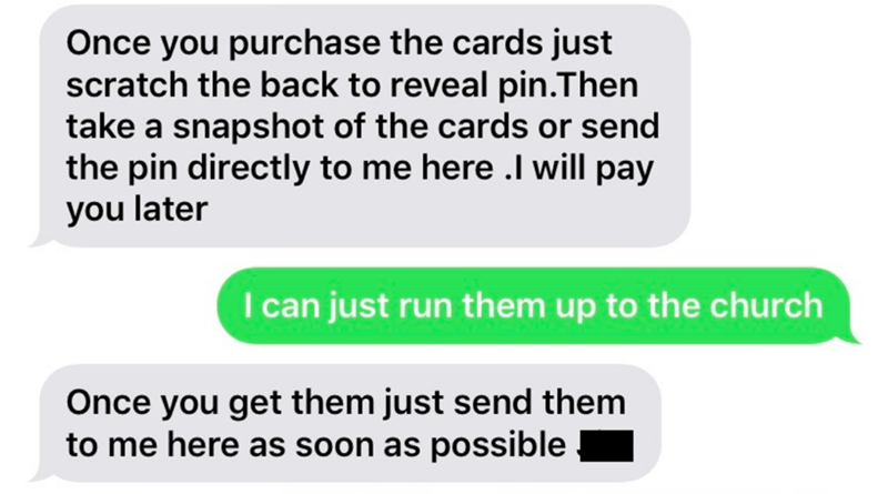 Text - Once you purchase the cards just scratch the back to reveal pin.Then take a snapshot of the cards or send the pin directly to me here .I will pay you later I can just run them up to the church Once you get them just send them to me here as soon as possible