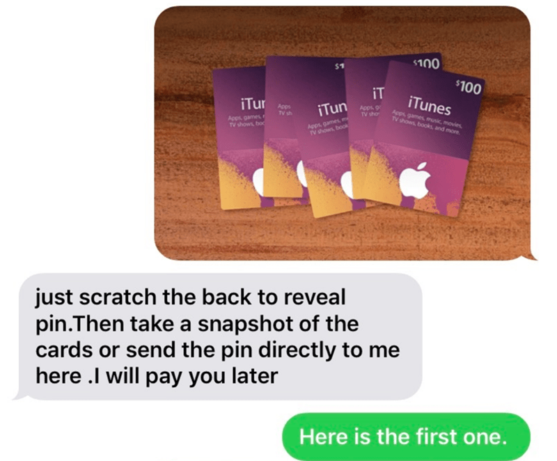 Text - $100 $100 iT iTur Apps TV sh iTun Apps, g TV sho iTunes Apps, games TV shows, boc Apps, games, m TV shows, book Apps, games, music, movies TV shows, books, and more. just scratch the back to reveal pin.Then take a snapshot of the cards or send the pin directly to me here .I will pay you later Here is the first one.