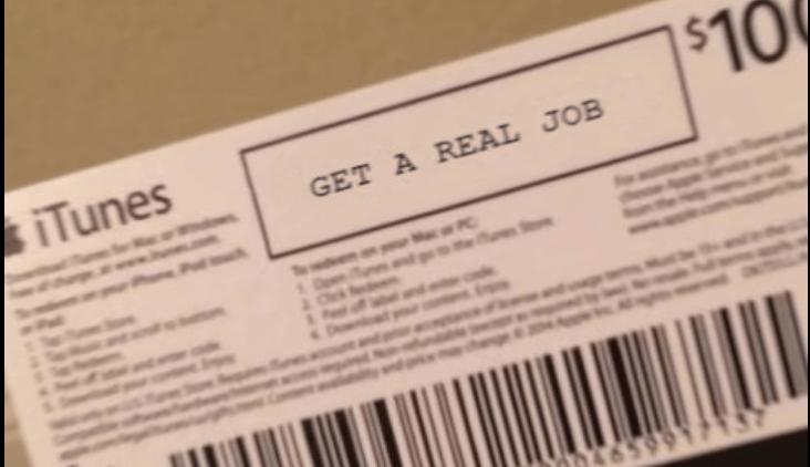 Text - iTunes $10 GET A REAL JOB PC 20