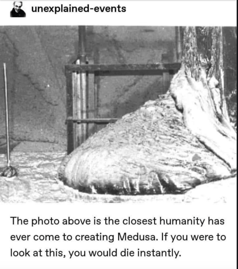 Text - unexplained-events The photo above is the closest humanity has ever come to creating Medusa. If you were to look at this, you would die instantly.