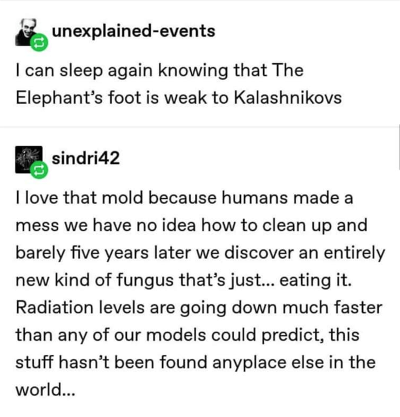 Text - unexplained-events I can sleep again knowing that The Elephant's foot is weak to Kalashnikovs sindri42 I love that mold because humans made a mess we have no idea how to clean up and barely five years later we discover an entirely new kind of fungus that's just.. eating it. Radiation levels are going down much faster than any of our models could predict, this stuff hasn't been found anyplace else in the world...