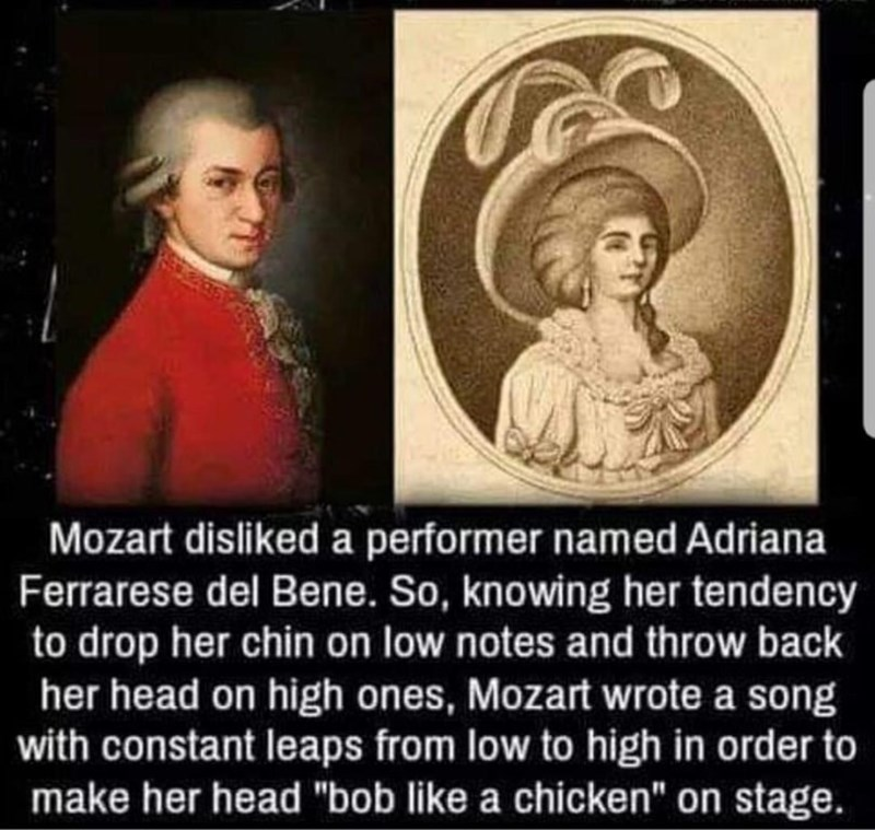 Funny meme about how Mozart composed a piece just to troll a performer he didn't like | Mozart disliked a performer named adriana so knowing her tendency to drop her chin on low notes and throw back her head on high notes Mozart wrote a song
