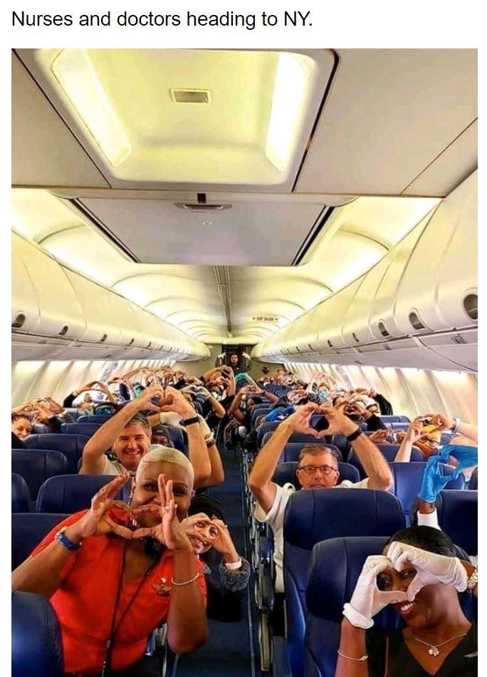 Air travel - Nurses and doctors heading to NY.