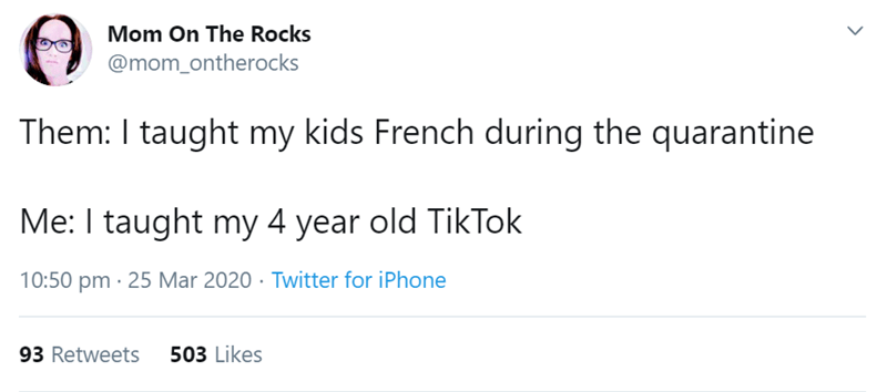 Text - Mom On The Rocks @mom_ontherocks Them: I taught my kids French during the quarantine Me: I taught my 4 year old TikTok 10:50 pm · 25 Mar 2020 · Twitter for iPhone 93 Retweets 503 Likes