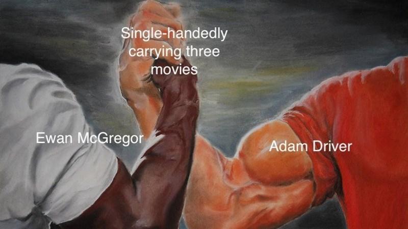 Painting - Single-handedly carrying three movies Ewan McGregor Adam Driver