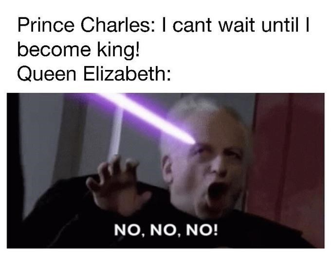 Text - Prince Charles: I cant wait until I become king! Queen Elizabeth: NO, NO, NO!