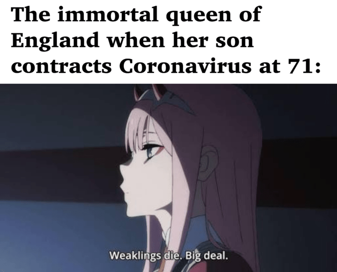 Text - The immortal queen of England when her son contracts Coronavirus at 71: Weaklings die. Big deal.