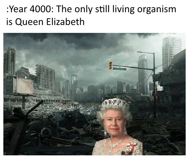 Text - :Year 4000: The only still living organism is Queen Elizabeth