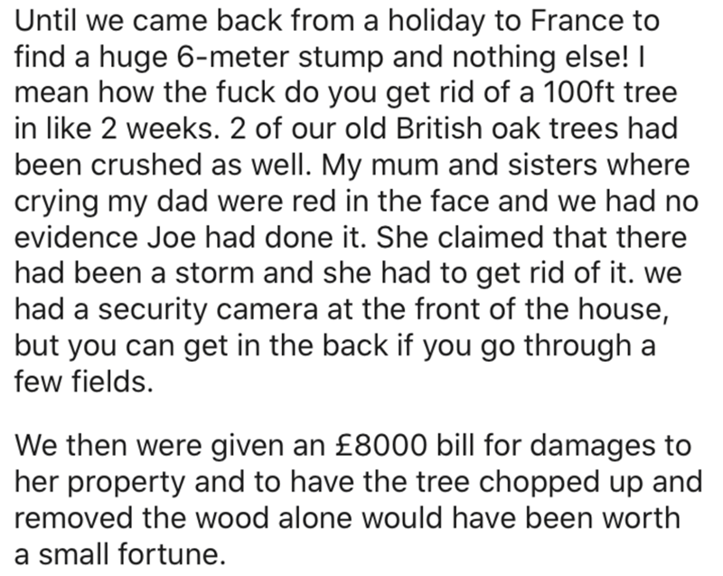 Text - Until we came back from a holiday to France to find a huge 6-meter stump and nothing else! I mean how the fuck do you get rid of a 100ft tree in like 2 weeks. 2 of our old British oak trees had been crushed as well. My mum and sisters where crying my dad were red in the face and we had no evidence Joe had done it. She claimed that there had been a storm and she had to get rid of it. we had a security camera at the front of the house, but you can get in the back if you go through a few fie