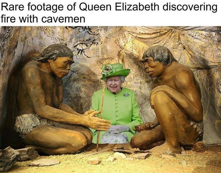 People - Rare footage of Queen Elizabeth discovering fire with cavemen