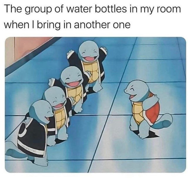 Funny meme about water bottles in room, pokemon meme, squirtle, relatable memes