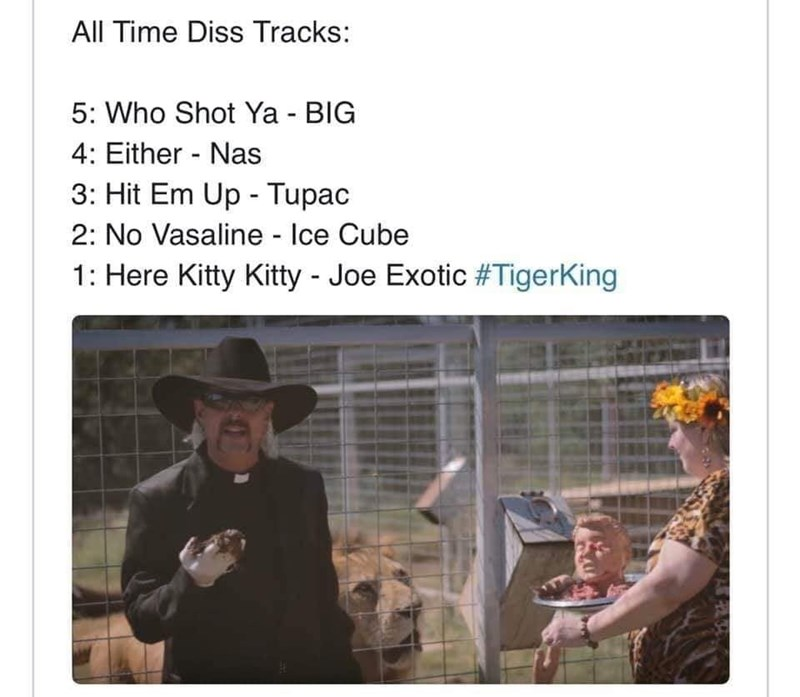 Text - All Time Diss Tracks: 5: Who Shot Ya - BIG 4: Either - Nas 3: Hit Em Up - Tupac 2: No Vasaline - Ice Cube 1: Here Kitty Kitty - Joe Exotic #TigerKing
