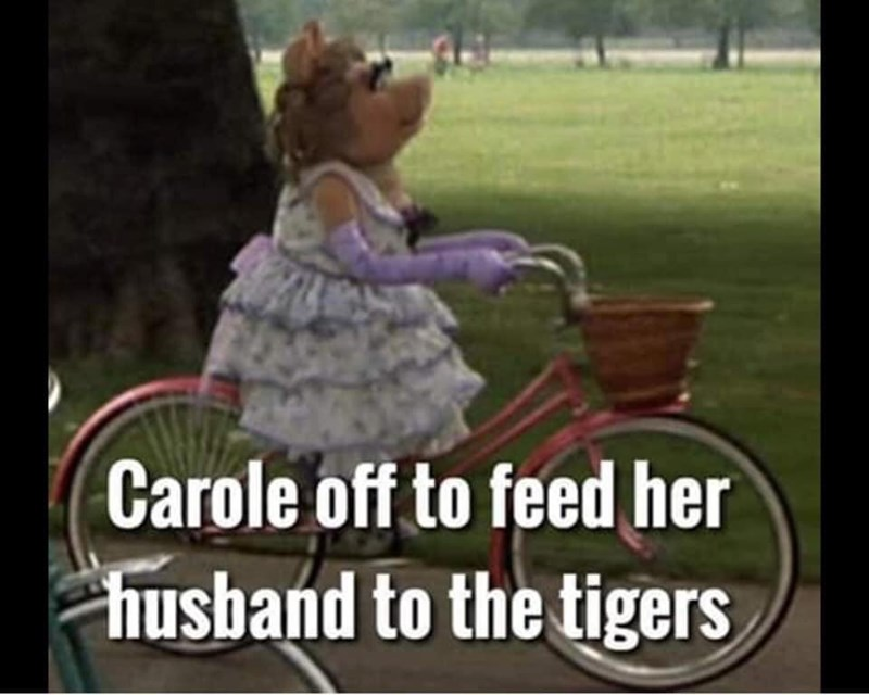 Product - Carole off to feed her husband to the tigers