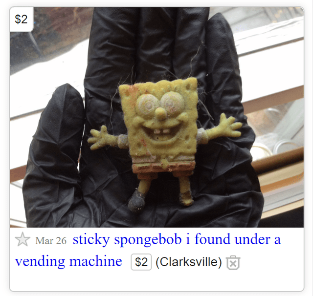 Bungeoppang - $2 Mar 26 sticky spongebob i found under a vending machine $2 (Clarksville)