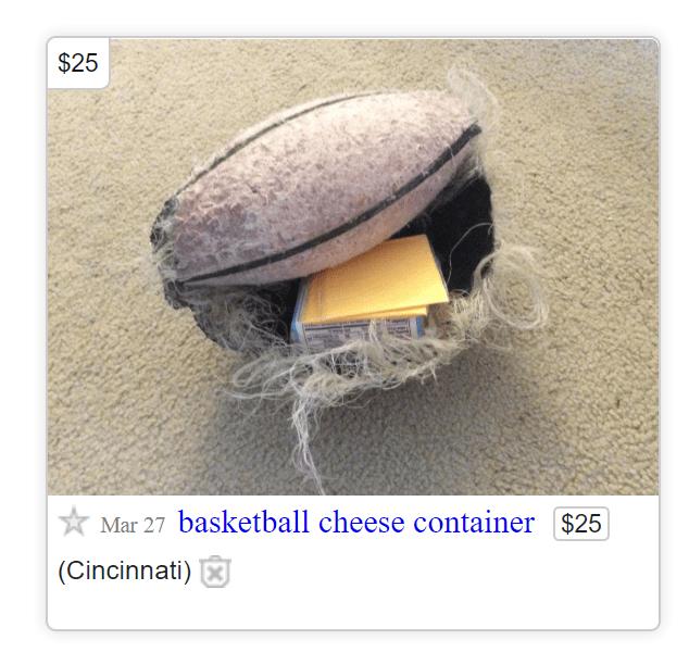 Organism - $25 Mar 27 basketball cheese container $25 (Cincinnati)