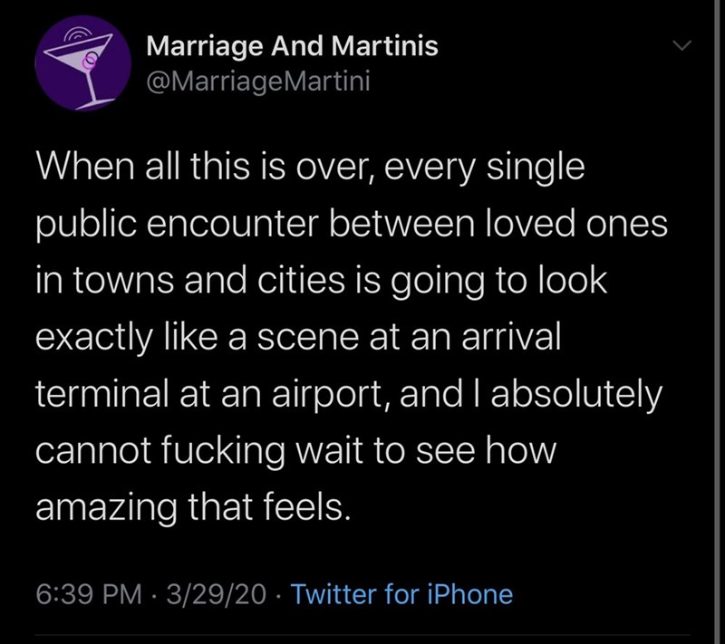 Text - Marriage And Martinis @MarriageMartini When all this is over, every single public encounter between loved ones in towns and cities is going to look exactly like a scene at an arrival terminal at an airport, and I absolutely cannot fucking wait to see how amazing that feels. 6:39 PM · 3/29/20 · Twitter for iPhone