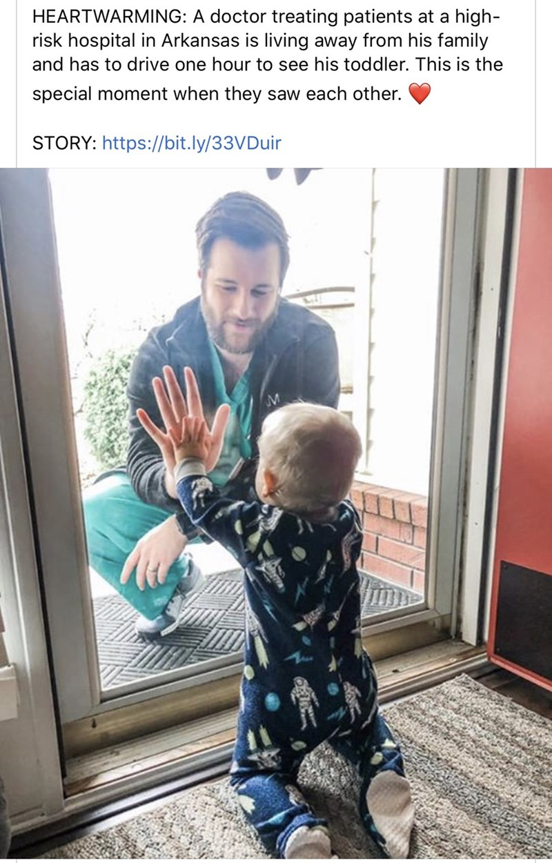 Child - HEARTWARMING: A doctor treating patients at a high- risk hospital in Arkansas is living away from his family and has to drive one hour to see his toddler. This is the special moment when they saw each other. STORY: https://bit.ly/33VDuir