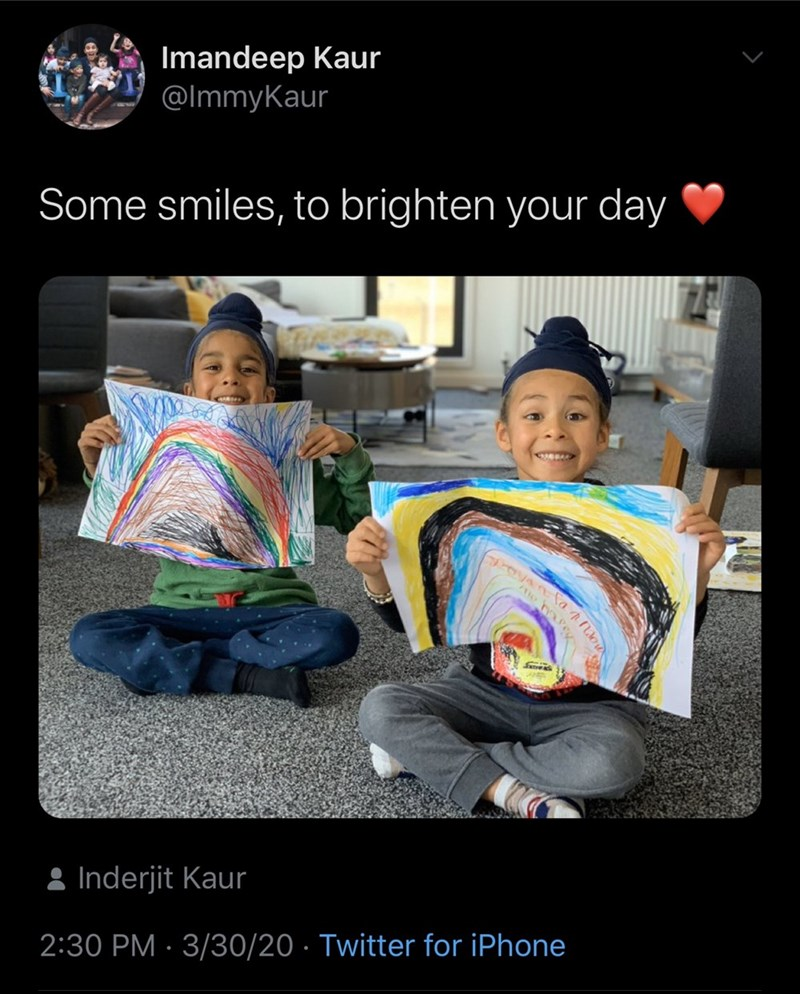Product - Imandeep Kaur @ImmyKaur Some smiles, to brighten your day 8 Inderjit Kaur 2:30 PM · 3/30/20 · Twitter for iPhone