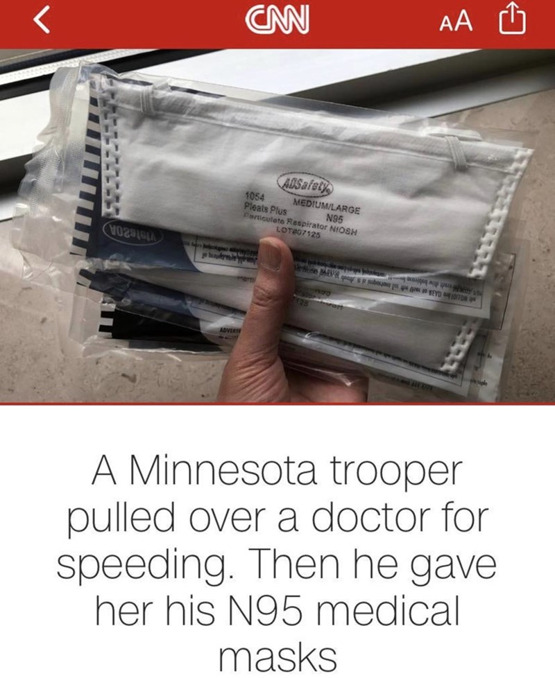 Product - AA ADSafety 1054 Pleats Plus MEDIUM/LARGE N95 Particulate Respirator NIOSH LOTR07125 V02S6 okg nerti slt WOJGH CA3A of wl st sol inohogmi ai N hoob A 7128 ADVERT A Minnesota trooper pulled over a doctor for speeding. Then he gave her his N95 medical masks