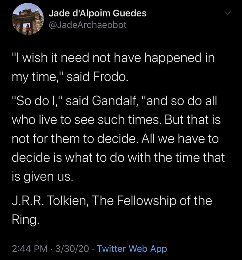"""Text - Jade d'Alpoim Guedes @JadeArchaeobot """"I wish it need not have happened in my time,"""" said Frodo. """"So do I,"""" said Gandalf, """"and so do all who live to see such times. But that is not for them to decide. All we have to decide is what to do with the time that is given us. J.R.R. Tolkien, The Fellowship of the Ring. 2:44 PM · 3/30/20 · Twitter Web App"""