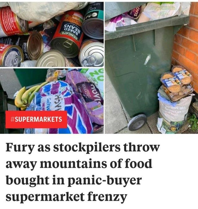 Textile - NEWGATE Tarmerrwe A #SUPERMARKETS Fury as stockpilers throw away mountains of food bought in panic-buyer supermarket frenzy OVIS HOVIS SENSATIC Soft W