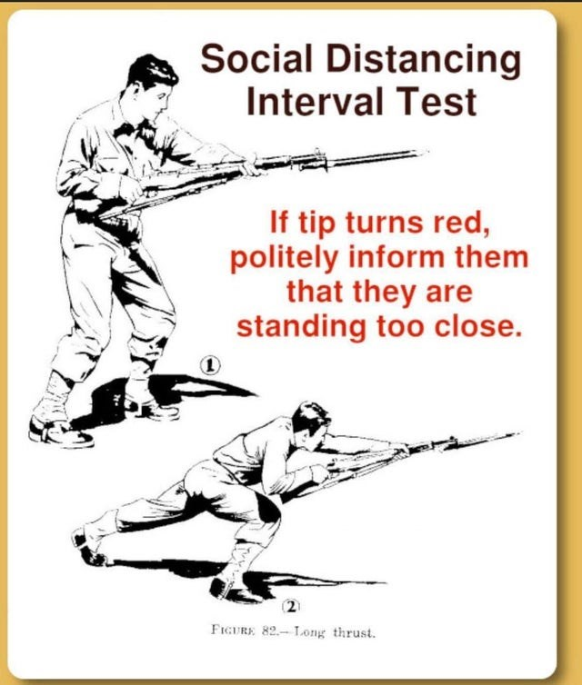 Poster - Social Distancing Interval Test If tip turns red, politely inform them that they are standing too close. FIGURE 82.-Long thrust.