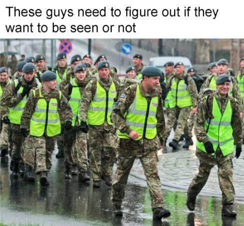 Military camouflage - These guys need to figure out if they want to be seen or not