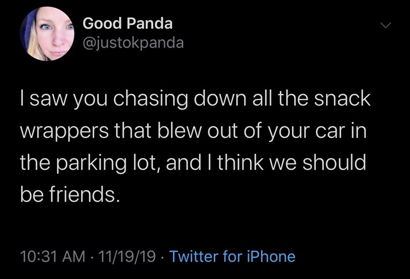 Text - Good Panda @justokpanda I saw you chasing down all the snack wrappers that blew out of your car in the parking lot, and I think we should be friends. 10:31 AM · 11/19/19 · Twitter for iPhone