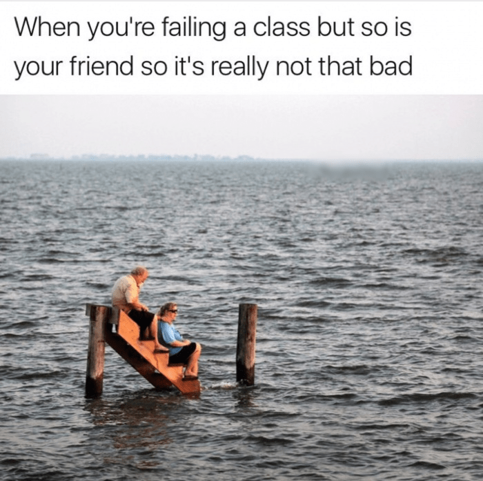 Water - When you're failing a class but so is your friend so it's really not that bad