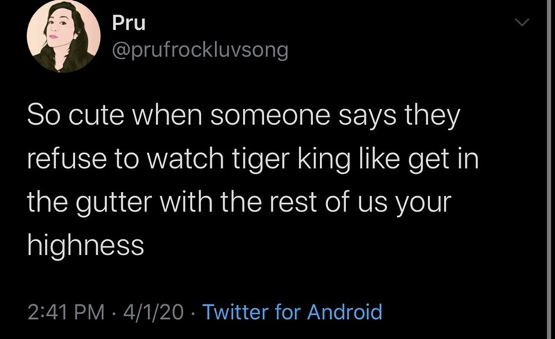 Text - Pru @prufrockluvsong So cute when someone says they refuse to watch tiger king like get in the gutter with the rest of us your highness 2:41 PM · 4/1/20 · Twitter for Android