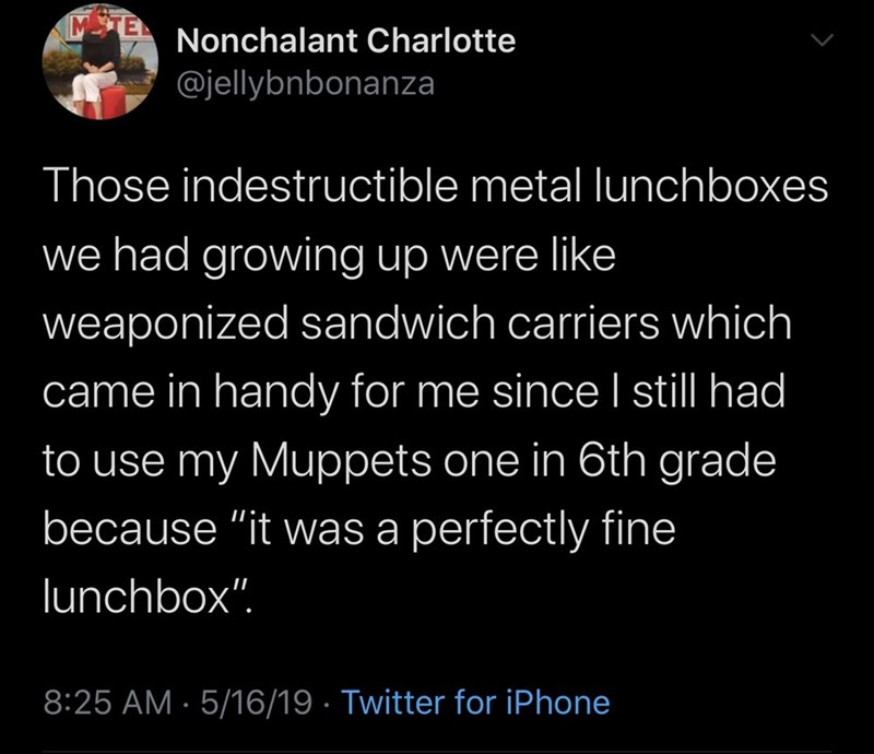 "Text - Nonchalant Charlotte @jellybnbonanza Those indestructible metal lunchboxes we had growing up were like weaponized sandwich carriers which came in handy for me since I still had to use my Muppets one in 6th grade because ""it was a perfectly fine lunchbox"". 8:25 AM · 5/16/19 · Twitter for iPhone"