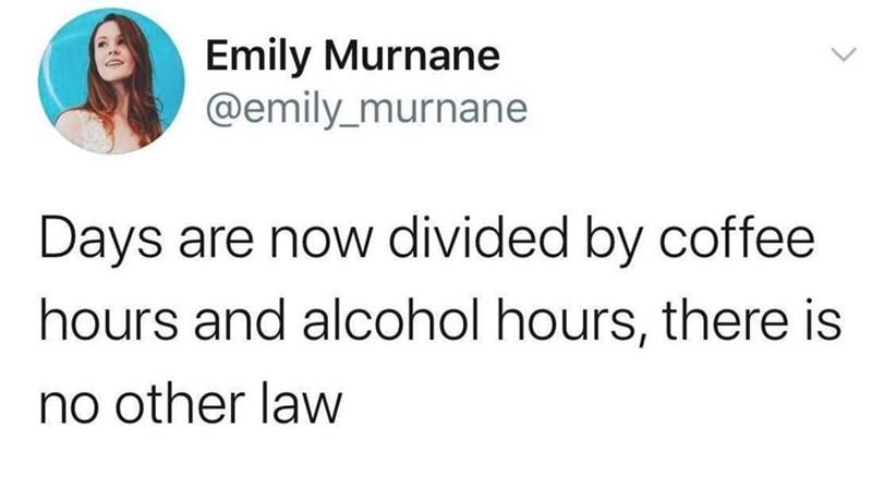 Text - Emily Murnane @emily_murnane Days are now divided by coffee hours and alcohol hours, there is no other law