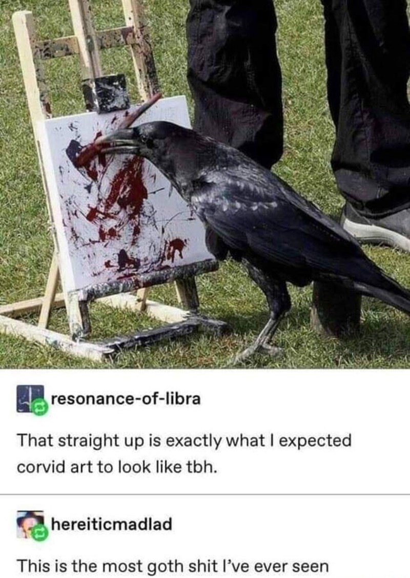 Bird - resonance-of-libra That straight up is exactly what I expected corvid art to look like tbh. hereiticmadlad This is the most goth shit l've ever seen