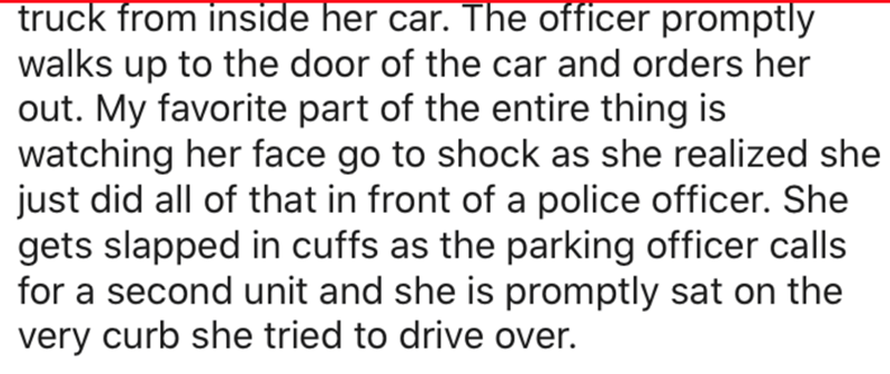 Text - truck from inside her car. The officer promptly walks up to the door of the car and orders her out. My favorite part of the entire thing is watching her face go to shock as she realized she just did all of that in front of a police officer. She gets slapped in cuffs as the parking officer calls for a second unit and she is promptly sat on the very curb she tried to drive over.