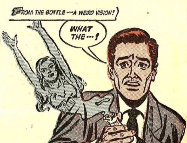 Cartoon - kam THE BOrTLE A WEIRO VISION! WHAT THE !