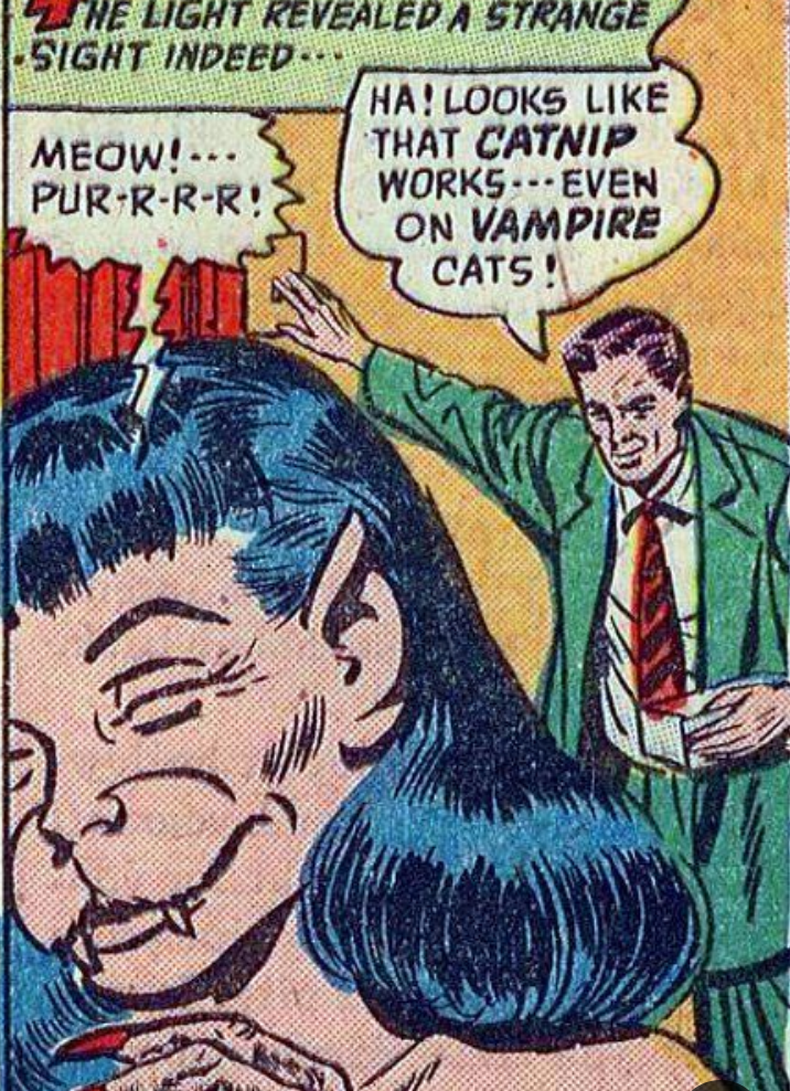 Comic book - ZHE LIGHT REVEALED A STRANGE SIGHT INDEED HA! LOOKS LIKE THAT CATNIP WORKSEVEN ON VAMPIRE CATS! MEOW! -. PUR-R-R-R!