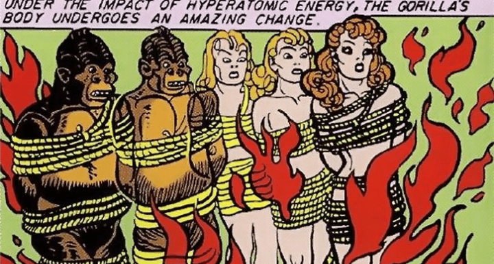 Cartoon - UNDER THE IMPACT OF HYPERATOMIC ENERGY, THE GORILLA'S BODY UNDERGOES AN AMAZING CHANGE.