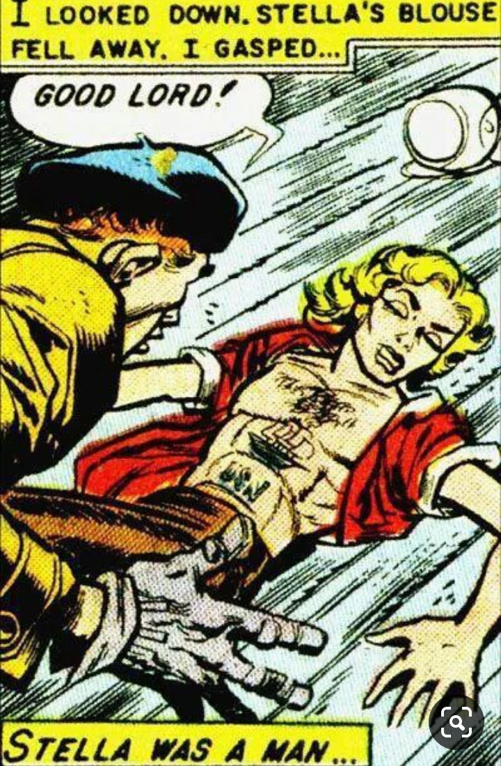 Comics - I LOOKED DOWN. STELLA'S BLOUSE FELL AWAY. I GASPED... GOOD LORD! STELLA WAS A MAN ...