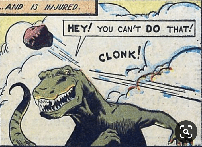 """Cartoon - """"AND IS INJURED. HEY! YOU CAN'T DO THAT! CLONK!"""