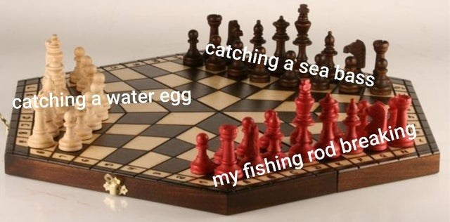 Board game - catching a sea bass catching a water egg my fishing rod breaking